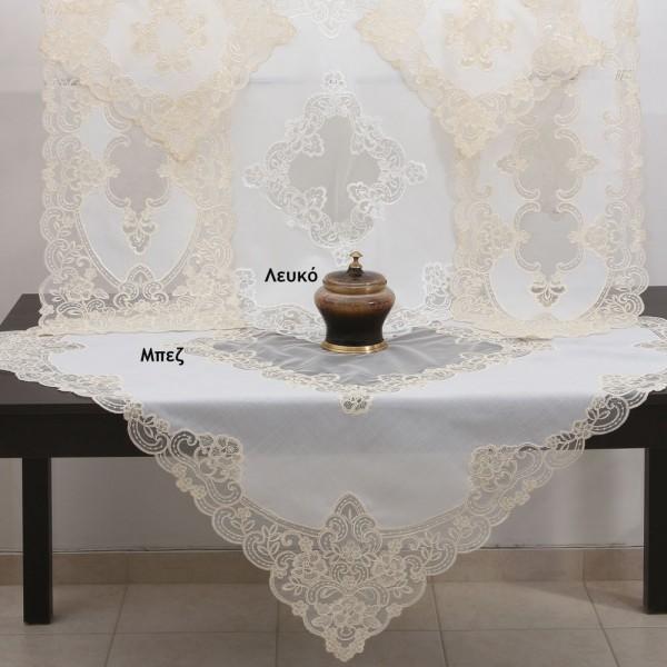 Τραπεζοκαρέ Με Δαντέλα 120x120 Ilis Home 40204 Λευκό Ilis Home - 1