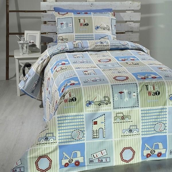 Κουβερλί Παιδικό Σετ 155x255 Cotton Feelings 06 Blue