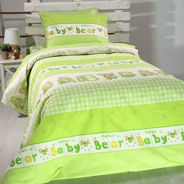 Κουβερλί Παιδικό Σετ 155x255 Cotton Feelings 8481 Green