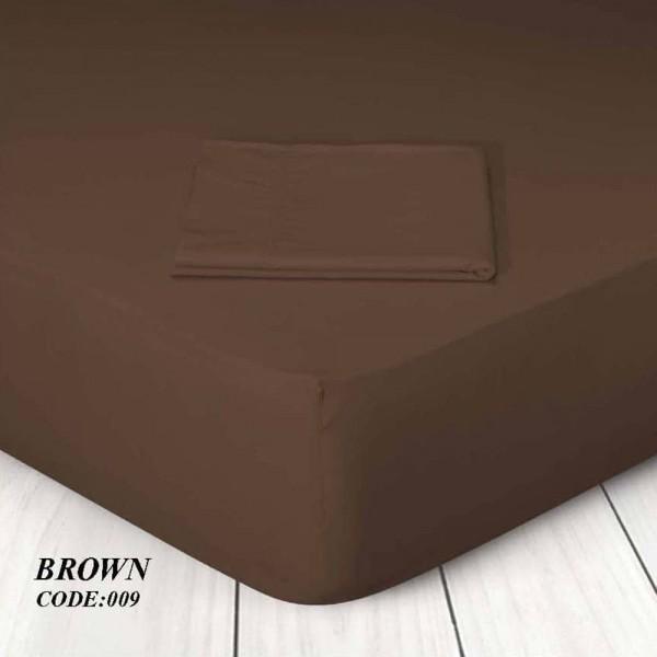Κατωσέντονο Με Λάστιχο Μονόχρωμο Υπέρδιπλο 160x200+25 009 Brown Marwa - 1