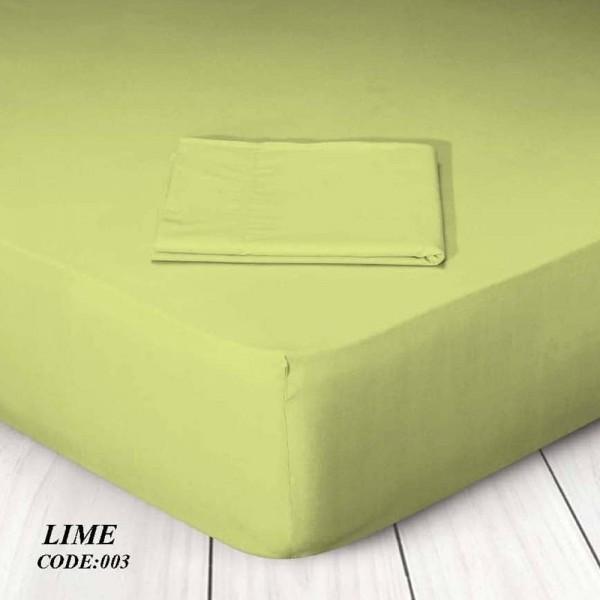 Κατωσέντονο Με Λάστιχο Μονόχρωμο Μονό 100x200+25 003 Lime Marwa - 1