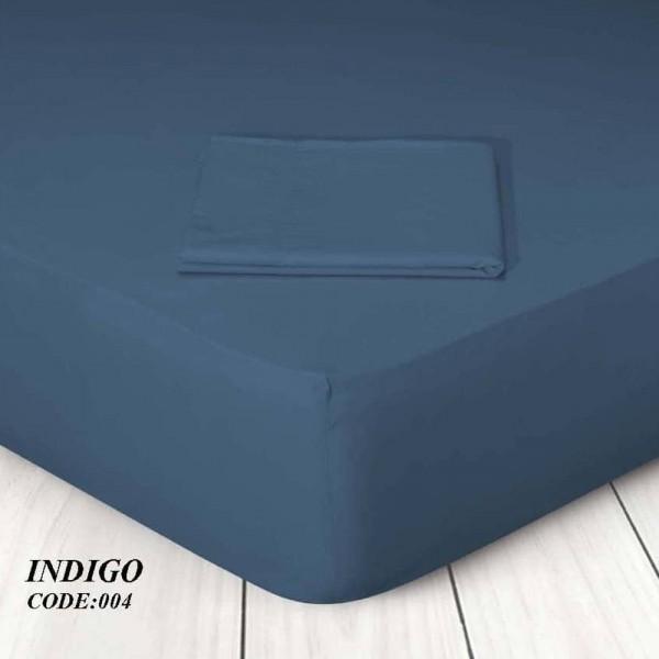 Κατωσέντονο Με Λάστιχο Μονόχρωμο Υπέρδιπλο 160x200+25 004 Indigo Marwa - 1