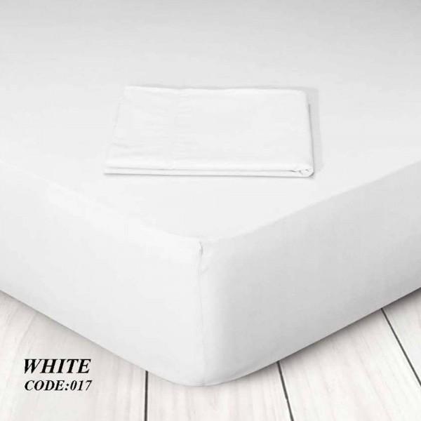 Κατωσέντονο Με Λάστιχο Μονόχρωμο Υπέρδιπλο 160x200+25 017 White Marwa - 1