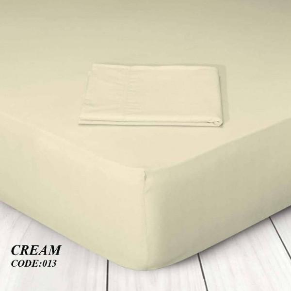 Κατωσέντονο Με Λάστιχο Μονόχρωμο King Size 180x200+25 013 Cream Marwa - 1