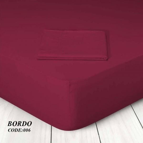 Κατωσέντονο Με Λάστιχο Μονόχρωμο Μονό 100x200+25 006 Bordo Marwa - 1