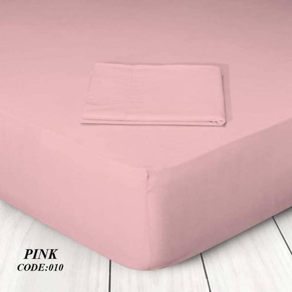 Κατωσέντονο Με Λάστιχο Μονόχρωμο King Size 180x200+25 010 Pink Marwa - 1