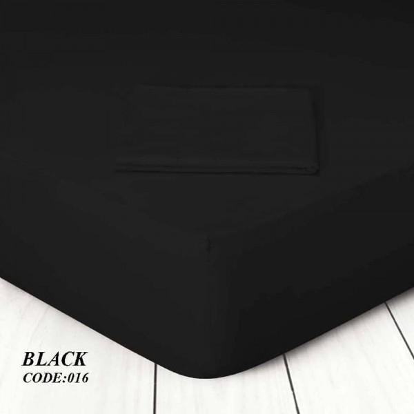 Κατωσέντονο Με Λάστιχο Μονόχρωμο Μονό 100x200+25 016 Black Marwa - 1