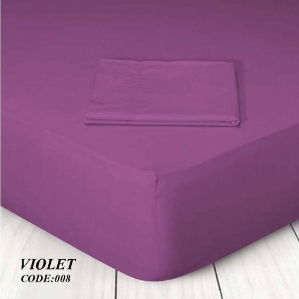 Κατωσέντονο Με Λάστιχο Μονόχρωμο Μονό 100x200+25 008 Violet Marwa - 1