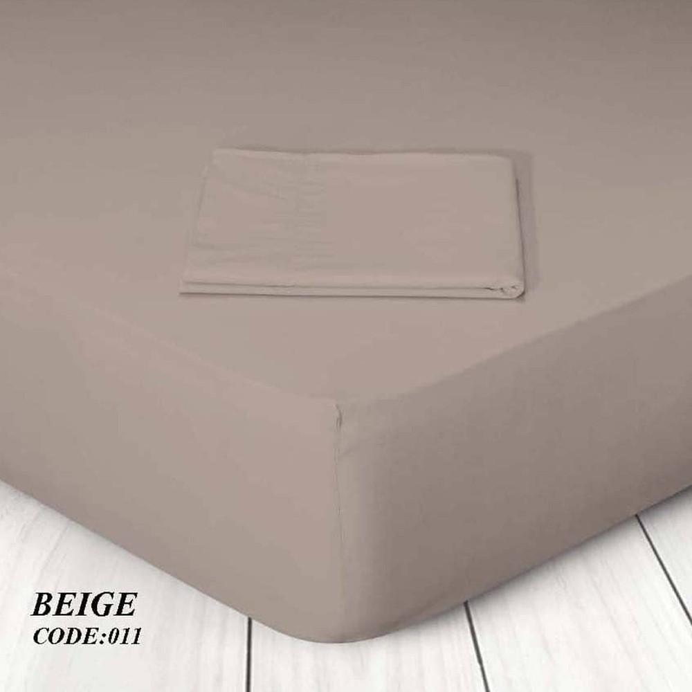 Κατωσέντονο Με Λάστιχο Μονόχρωμο Υπέρδιπλο 160x200+25 011 Beige Marwa - 1
