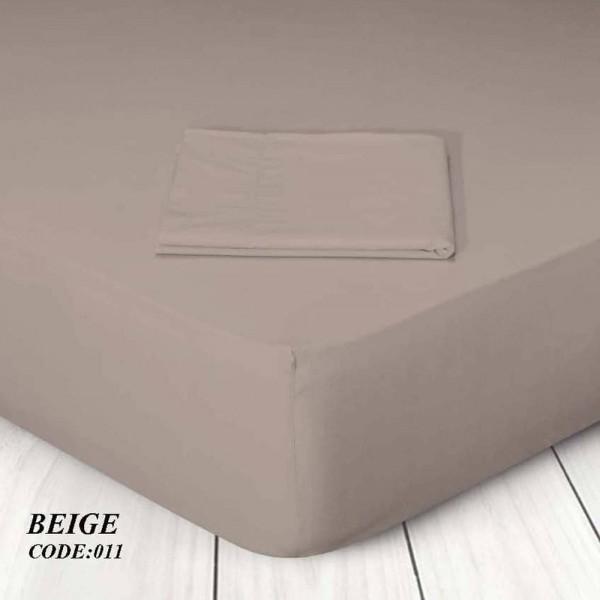 Κατωσέντονο Με Λάστιχο Μονόχρωμο King Size 180x200+25 011 Beige Marwa - 1
