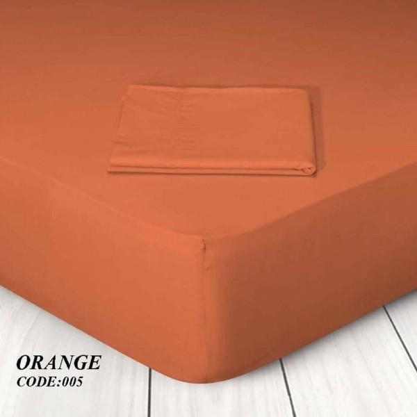 Κατωσέντονο Με Λάστιχο Μονόχρωμο Μονό 100x200+25 005 Orange Marwa - 1