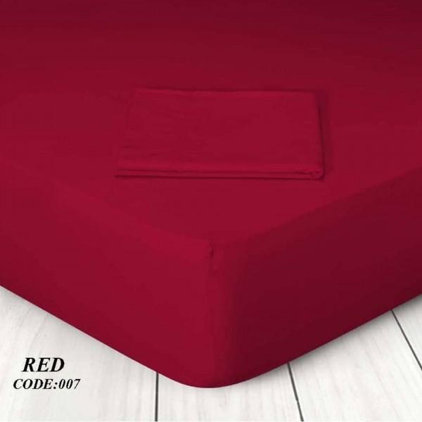 Κατωσέντονο Με Λάστιχο Μονόχρωμο Μονό 100x200+25 007 Red Marwa - 1
