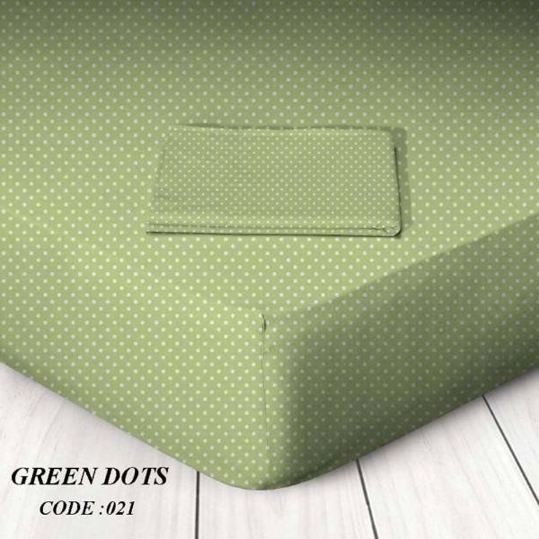 Κατωσέντονο Με Λάστιχο King Size 180x200+25 Green Dots