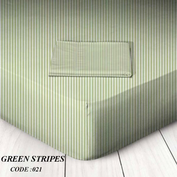 Κατωσέντονο Με Λάστιχο King Size 180x200+25 Green Stripes Marwa - 1