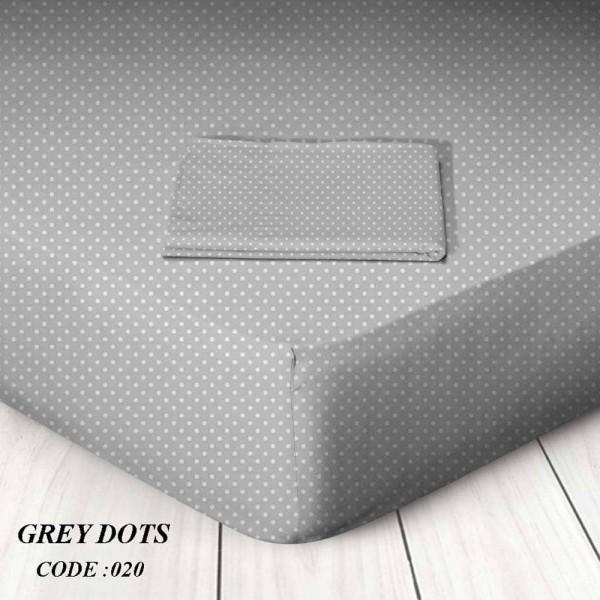Κατωσέντονο Με Λάστιχο Μονό 100x200+25 Grey Dots Marwa - 1