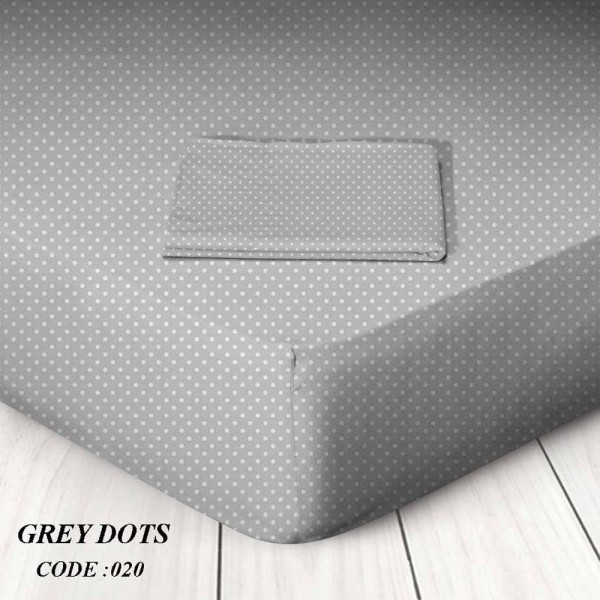 Κατωσέντονο Με Λάστιχο King Size 180x200+25 Grey Dots