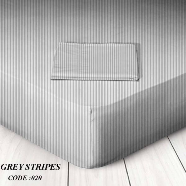 Κατωσέντονο Με Λάστιχο Υπέρδιπλο 160x200+25 Grey Stripes Marwa - 1