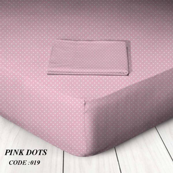 Κατωσέντονο Με Λάστιχο Υπέρδιπλο 160x200+25 Pink Dots Marwa - 1