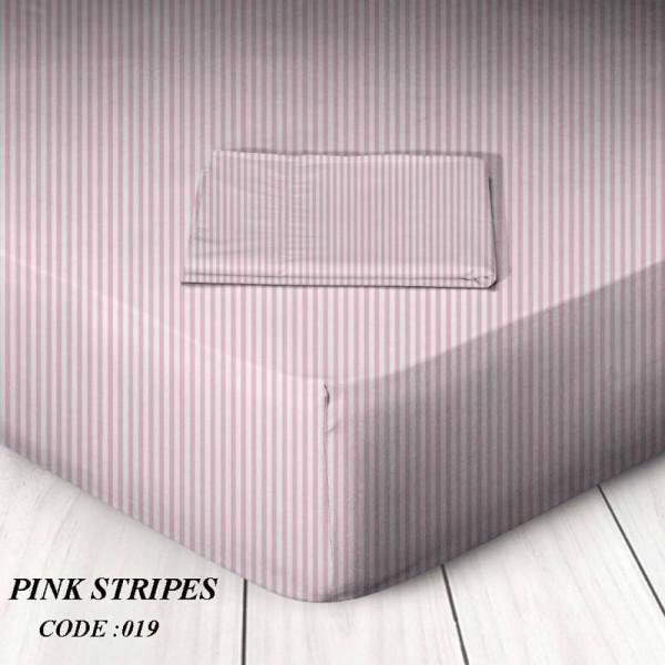 Κατωσέντονο Με Λάστιχο King Size 180x200+25 Pink Stripes Marwa - 1