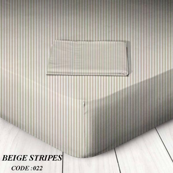 Κατωσέντονο Με Λάστιχο Υπέρδιπλο 160x200+25 Beige Stripes Marwa - 1