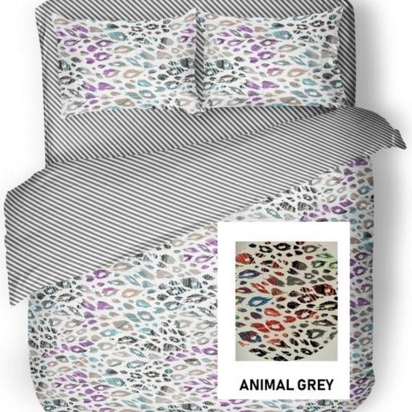 Παπλωματοθήκη Υπέρδιπλη Βαμβακερή Σετ 225x240 Animal Grey Flamingo - 1