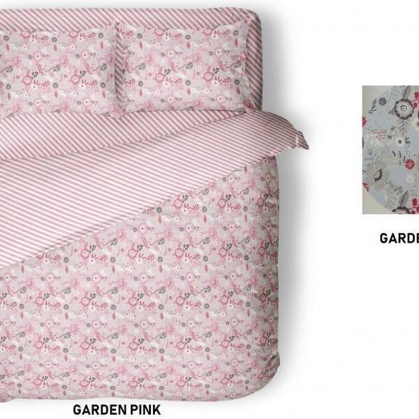 Παπλωματοθήκη Υπέρδιπλη Βαμβακερή Σετ 225x240 Garden Pink Flamingo - 1