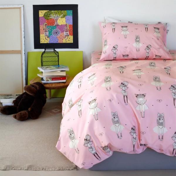 Μαξιλαροθήκες Ζεύγος 52x72 Melinen Kids Cute Pink Melinen - 1