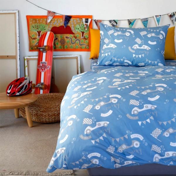 Μαξιλαροθήκες Ζεύγος 52x72 Melinen Kids Race Blue Melinen - 1