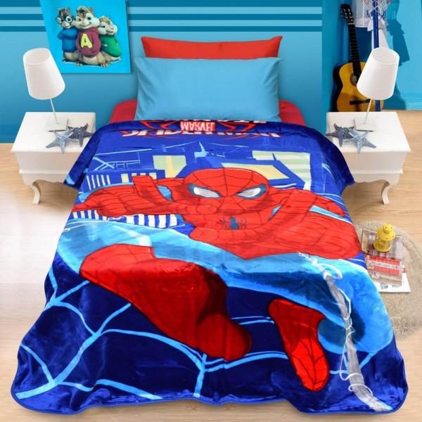 Κουβέρτα Παιδική Βελουτέ 160x220 Spiderman Lino - 1