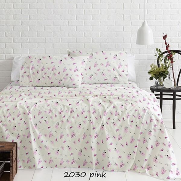 Σεντόνια Φανελένια Διπλά Σετ 200x250 Cotton Feelings 2030 Pink Sunshine - 1