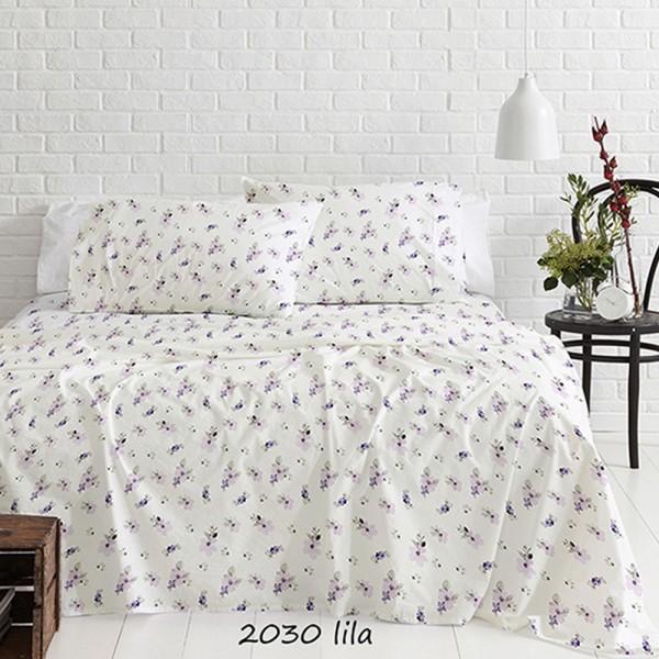 Σεντόνια Φανελένια Διπλά Σετ 200x250 Cotton Feelings 2030 Lilac Sunshine - 1