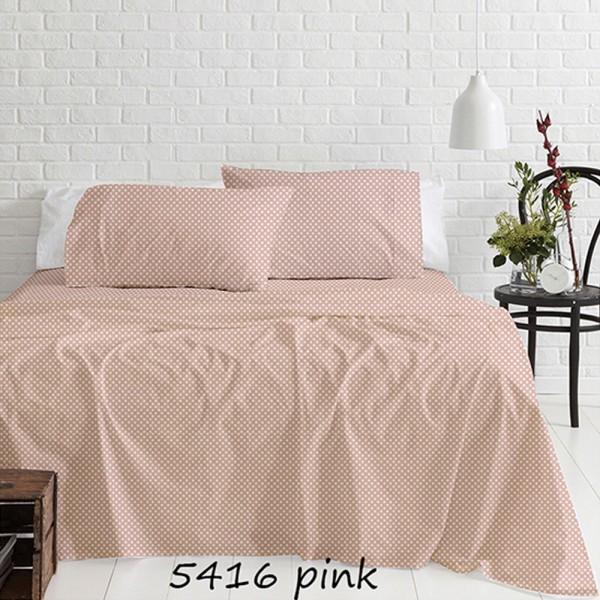 Σεντόνια Φανελένια Υπέρδιπλα Σετ 230x250 Cotton Feelings 5416 Pink Sunshine - 1