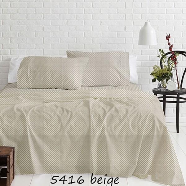 Σεντόνια Φανελένια Υπέρδιπλα Σετ 230x250 Cotton Feelings 5416 Beige Sunshine - 1