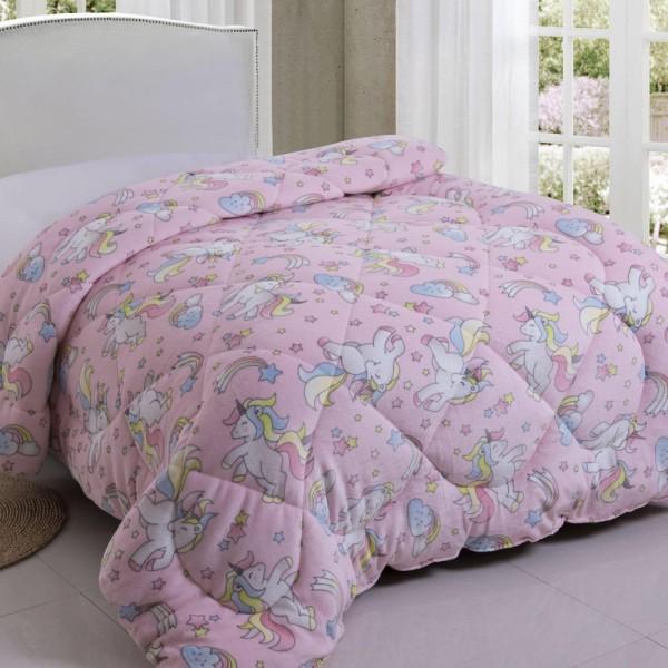 Κουβερτοπάπλωμα Παιδικό Flannel 160x220 Pony Flamingo - 1