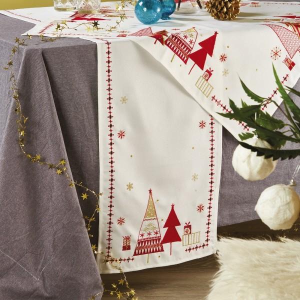 Χριστουγεννιάτικη Τραβέρσα 40x180 White Egg 17424-IV White Egg - 1