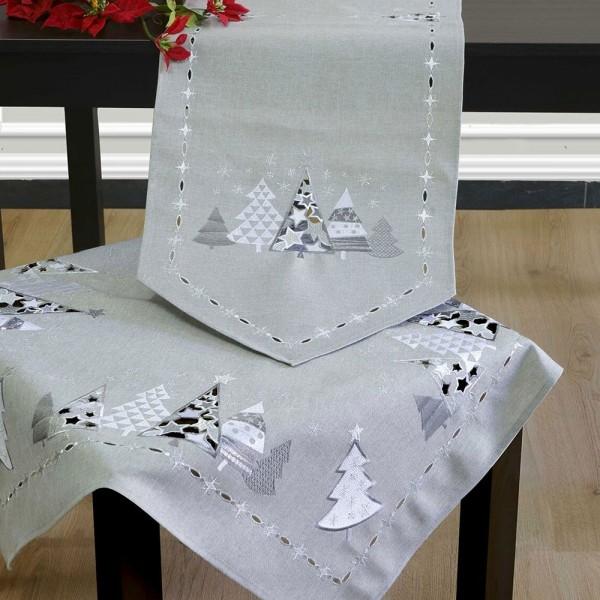 Χριστουγεννιάτικο Σεμέν Με Κέντημα Σετ 3Τμχ Ilis Home 18820 Γκρι Ilis Home - 1